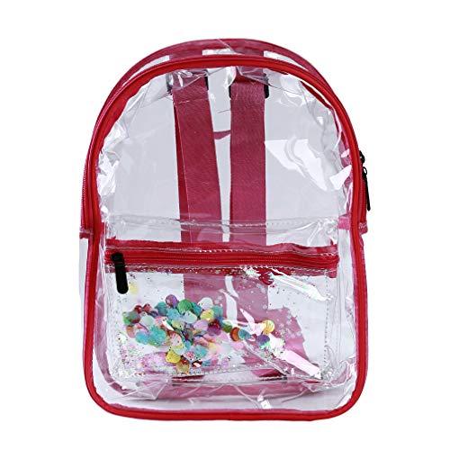 Pinhan Fashion Transparenter Rucksack Durchsichtiger Tagesrucksack Damen Klarer Tagesrucksack Reisetasche für Damen Damen Arbeit Shopping, Rose rot (rot)