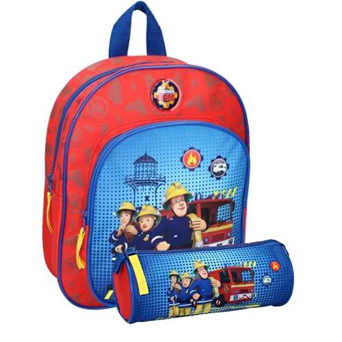 Sam il pompiere - Zaino per bambini, 31 x 25 x 9 cm, con astuccio