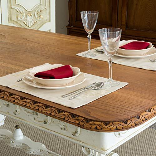 Luxe de Noël Beige Lot de 2 sets de table - Grand ourlet - Anti taches résistant - Réf. Noël