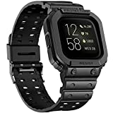 amBand Compatible for Fitbit Versa 3/ Fitbit Versa 2/Fitbit Sense Bands with Case, Protective Band Strap for Versa 3/2/1 & Versa Lite, Rugged Sport Protector Replacement Watch Wristbands Men Black