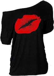 Women Casual Plus Size Sexy Lips Print Off Shoulder T-Shirt Tops