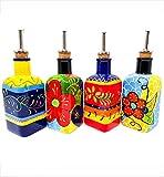 Hand Painted Traditional Spanish Style Square Oil Drizzler Pourer for Dressings/Vinaigrettes 250ml Divine Deli | One Supplied, Random Design Sent…