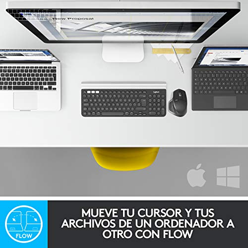 Logitech MX Master 2S Ratón inalámbrico, Múltiples Dispositivos, Bluetooth o 2.4GHz, Receptor USB Unifying, 4000 DPI Seguimiento en Cualquier Superficie, 7 Botones, PC/Mac/i Pad OS - Flounder