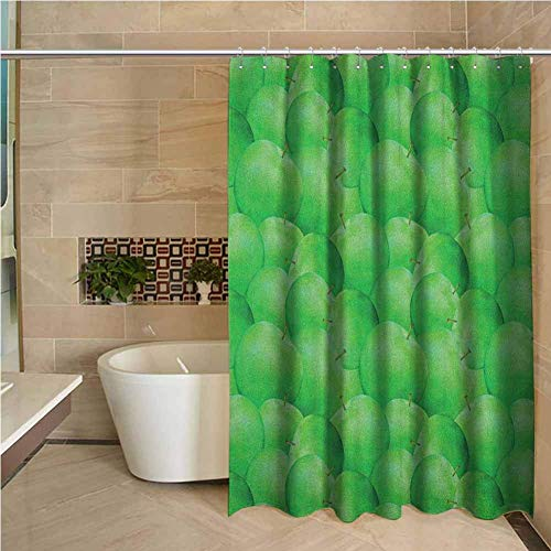 Duschvorhang Apfel saftig grüne Äpfel mit Stielen Obstgarten Ertrag leckere nahrhafte vegetarische Optionen Farngrün