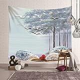 KnSam Tapiz de pared, diseño de bosque y pájaros, decoración de pared, de poliéster, azul claro, 210 x 140 cm