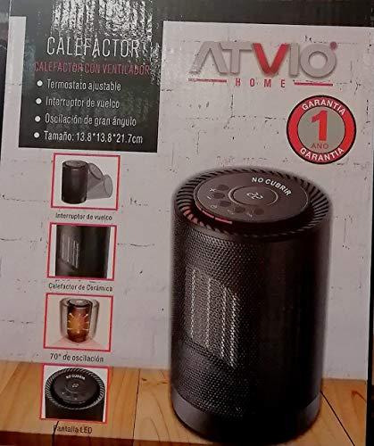 calefactor ventilador atvio(termostato ajustable,interruptor de vuelco,tamaño 13.8-13.8-21.7 cm,pantalla led)