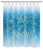 Winter Schneeflocke Duschvorhang Let it Snow Urlaub Duschvorhang für Badezimmer Dekoration Set mit Haken 72x72 Zoll wasserdichtes PolyestergewebeBlau Weiß