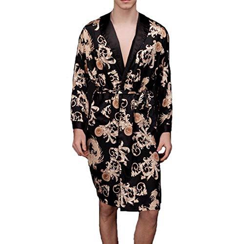 Albornoz Hombres Bata De Baño Ropa Moda Bata Ligera Cómoda Ropa De Mode De Marca Casa Cómoda Vestido De Noche Primavera Verano (Color : Schwarz, Size : SG)
