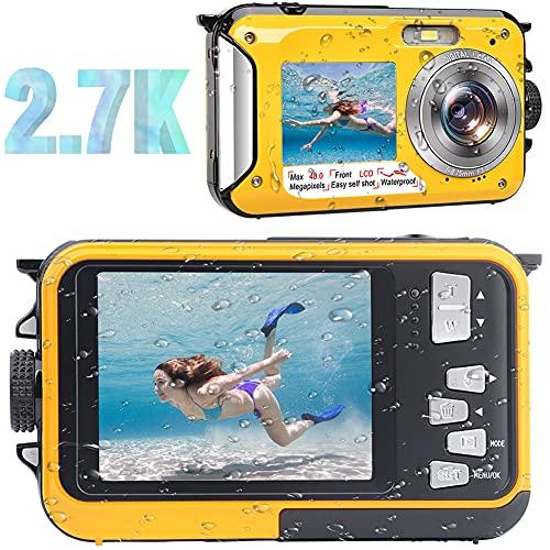 Waterproof Camera Waterproof Digital Camera Full HD 2.7K 48MP Underwater Camera for Snorkeling   Dual Screen   16X Digital Zoom   Flashlight   10 Feet Waterproof