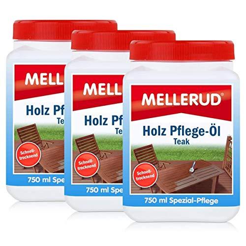 Mellerud Holz Pflege-Öl Farbton Teak 750ml - Spezial-Pflege (3er Pack)