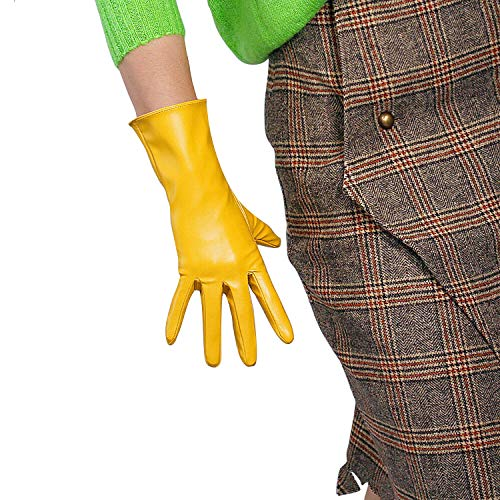 DooWay Long Latex Gloves Faux Leather Sheepskin Elastic Mustard Yellow 11-inch Warm Party Dress Driving Gloves