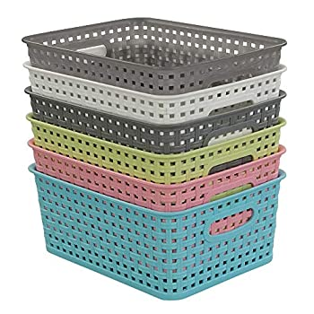 Rinboat Mixed Color Rectangle Storage Baskets Plastic Weave Shelf Baskets 6 Packs
