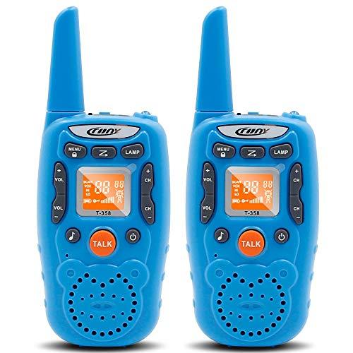 Eoncore T358 Walkie Talkies for Kids Two Ways Radio Toy Long Range 22 Channels 10 Call Tone Build-in Flashlight Blue