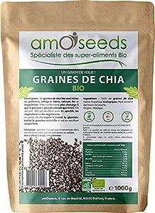 Graines de Chia Bio 1KG   Protéines, Perte de Poids, Digestion, Oméga-3   Qualité Supérieure