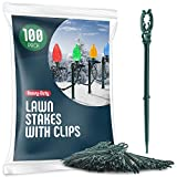 Christmas Light Yard Stakes [Set of 100] Outdoor Light Stakes - 8.5' Tall - Universal Christmas Pathway Lights On Yards, Driveways - Christmas Yard Stakes - Driveway Christmas Light Stakes - USA Made