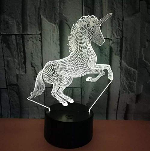 Cute Unicorn 3D Illusion Lamp House Bedroom Office Decor Led 7 Color Changing Usb 3D Night Lights Creative Gift