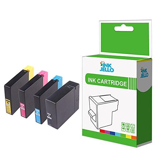 InkJello Compatible Tinta Cartucho Reemplazo para Canon MAXIFY iB4050 iB4150 MB5050 MB5150 MB5155 MB5350 MB5450 MB5455 PGI-2500XL (NegroCianMagentaAmarillo 4-Pack)