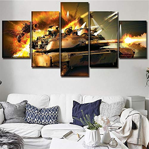 FHSFFS 5 tablet games 3 tank posters modern artwork canvas print decoration bedroom painting wall art modular picture frame