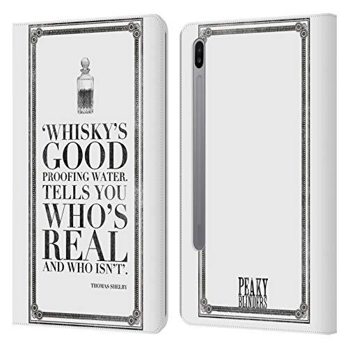 Officiële Peaky Blinders Whisky's Goed Typografie Lederen Book Portemonnee Cover Compatibel voor Samsung Galaxy Tab S6 (2019)