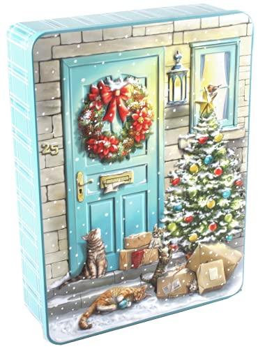 Bramble Foods - Lata de metal en relieve para gatos de nieve navideña decorada con una variedad de galletas inglesas, 1 x 300 gramos