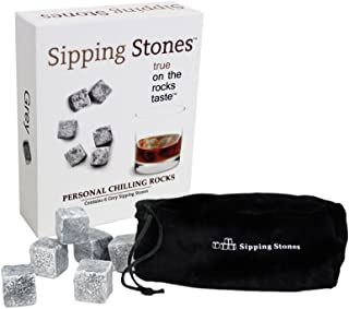 Sipping Stones Whiskey Rocks - Set of 6 Grey Whisky Chilling Rocks in Gift Box with Pouch - 100% Pure Soapstone