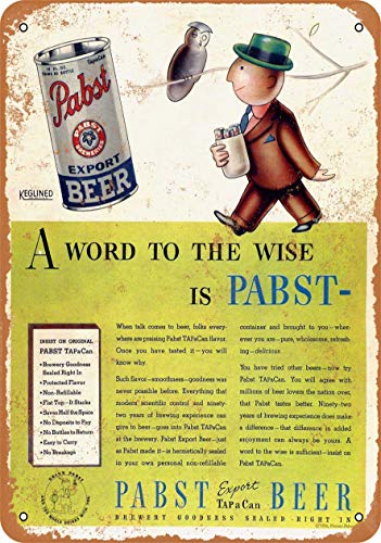 AMELIA SHARPE Vintage Retro Collectible tin Sign - 1936 Pabst Export Beer -Wall Decoration 12x8 inch Poster Home bar Restaurant Garage Cafe Art Metal Sign Gift