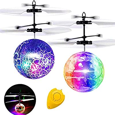 Flying Ball, 2 Pack Kids Toys Remote Controller Helicopter Infrared Induction RC Flying Toys Holiday Toy List Xmas Gifts for Kids Boys Girls Rechargeable Light Up Ball RC Drone Toy for Outdoor Games from AMENON