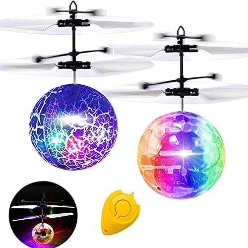 Flying Ball, 2 Pack Kids RC Toys Helicopter with Remote Controller Flying Toys Light Up Ball Mini Drones Holiday Birthday Gifts for Kids Boys Girls Rechargeable Indoor Outdoor Sports Game Toys for Boy