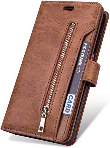 Felfy [9 Kartenfächer Kompatibel mit Huawei Mate 10 Pro Hülle,Kompatibel mit Huawei Mate 10 Pro Hülle Leder Magnetische Flip Hülle PU Leder Handyhülle Multifunktions Klapphülle Schutzhülle,Braun