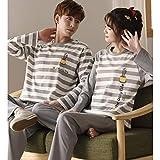 YIJIN Autumn Cotton Couple Pajamas Korean Casual Men Women Long Sleeved Cotton Home Wear Winter,A-Medium