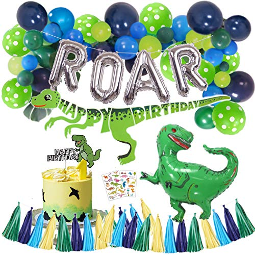 Dinosaur Party Supplies – Little Dino Party Decorations Set, 30' BIG T Rex, Cake Topper, Tattoo Stickers, Silver ROAR, Happy Birthday Banner, Jungle Theme Balloon Garland