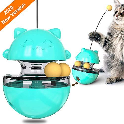 UHAPEER Haustier Interaktives Futterball Für Hunde und Katzen, Tumbler Haustierfutter Spielzeugball, Für Hund Katze Langsam Fütterung Training (Blau)