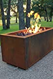 "Bentintoshape Rectangular Cor-Ten Steel Glass Media Fire Pit with 36"" Stainless Steel H Burner for Propane Gas"