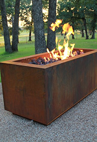 Best Deals! Bentintoshape Rectangular Cor-Ten Steel Glass Media Fire Pit with 36 Stainless Steel H ...