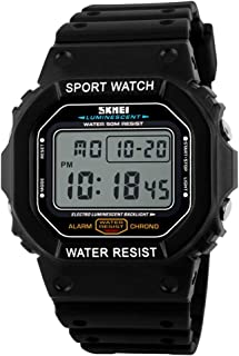 Mens Square Digital Sports Watch with Alarm Clock Stopwatch