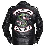 SAMA Brands Mens Riverdale Southside Serpents Black Leather Biker Jacket - Riverdale Southside Serpents Real Leather Biker Jacket (XXS- Fit for 35-36 inches Actual Chest Size)