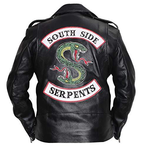 Sama - Giubbotto da motociclista in vera pelle nera, marchi Riverdale Southside Serpents Nero X-Small-petto 94/97 cm