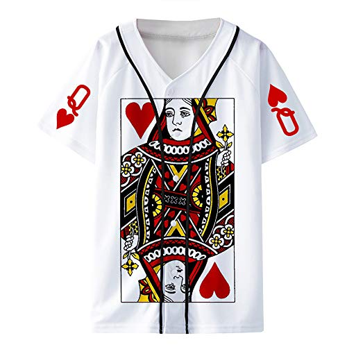 Poker 3D Camiseta Camiseta clásica de Manga Corta básica en Blanco para Hombre de algodón Liso para Hombre Camiseta Ajustada Informal Unisex (Color : White02, Size : XS)