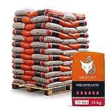 HEIZFUXX Holzpellets Red Heizpellets Hartholz Wood Pellet Öko Energie Heizung Kessel Sackware 6mm 15kg x 65 Sack 975kg / 1 Palette Paligo
