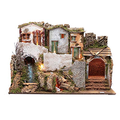 Holyart Nativity Scene Setting with Houses 55x75x40 cm, a waterfull and Lights.