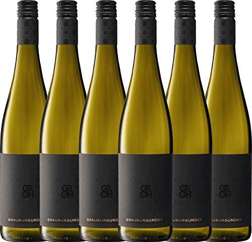 VINELLO 6er Weinpaket Weißwein - Grauburgunder 2019 - Groh mit Weinausgießer | trockener Weißwein | deutscher Sommerwein aus Rheinhessen | 6 x 0,75 Liter