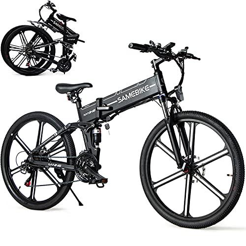 ZWJABYY Bicicleta Electrica MontañAde 26 Pulgadas,Bicicletas Electricas 500W,con BateríA ExtraíBle De 48V/10Ah,con Instrumento LCD Central & AutonomíA Buena Bicicleta EléCtrica Plegable,Black