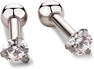 """16g Cubic Zirconia 3mm Stone Ear Cartilage Studs Barbell Piercing Helix Earrings 1/4"""" 2 pieces Color Choose"""