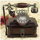 固定電話,電話機 レトロ, ヨーロッパの牧歌的なスタイルアンティーク電話レトロビンテージピュアウッドクラフトギフト家の電話固定電話引き出し収納 家庭 電話,レトロ,アンティーク (Size : A)