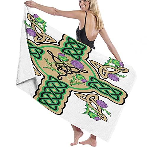 Celtic Bath Towels Quick-Dry Soft, Celtic Knot Design with Wreath Flowers Motifs Retro Floral Arragnement Welsh Towels Mustard Green