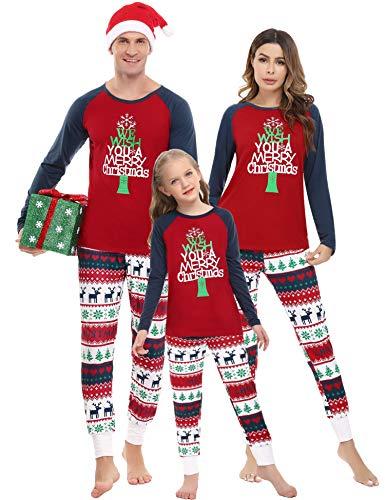 Irevial Pijamas Navidad Familia Conjunto,Manga Larga Camiseta con Estampado de Feliz Navidad y pantalón Largo con cordón y Bolsillos 2 Piezas,Ropa de Dormir para hombremujer Niños Invierno,Rojo,XXL