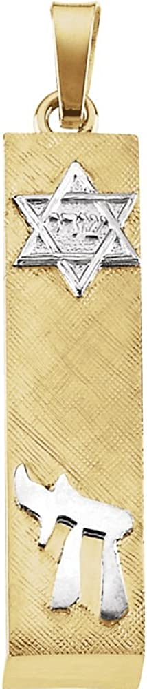 Jewels By Max 47% OFF Lux 14K Yellow and 28x6mm Max 78% OFF Mezuzah Two Tone Gold White