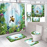 4 Piece Sea World Backdrop Underwater Dolphin Ocean Turtle Shower Curtains Sets with Non-Slip Rugs, Toilet Lid Cover and Bath Mat, Bathroom Sets with Shower Curtain and Rugs and Accessories