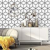 QWESD Papel Pintado de Estilo nórdico Fondo de TV Enrejado Blanco y Negro patrón geométrico Dormitorio Sala de Estar Papel Tapiz Minimalista Moderno