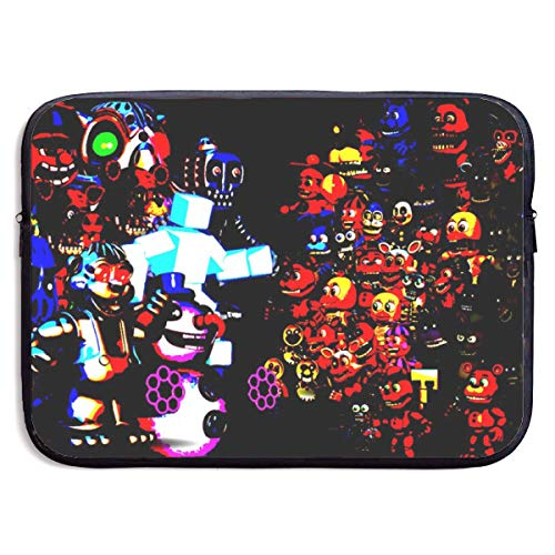 13-15 Inch Laptop Sleeve Case Protective Bag, Waterproof Gaming Computer Tote, IPad Notebook Carrying Cover for Men & Women - Drawing A FNAF Cool Colorful Background